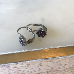 Jewelry - Sterling silver and garnet clasp earrings